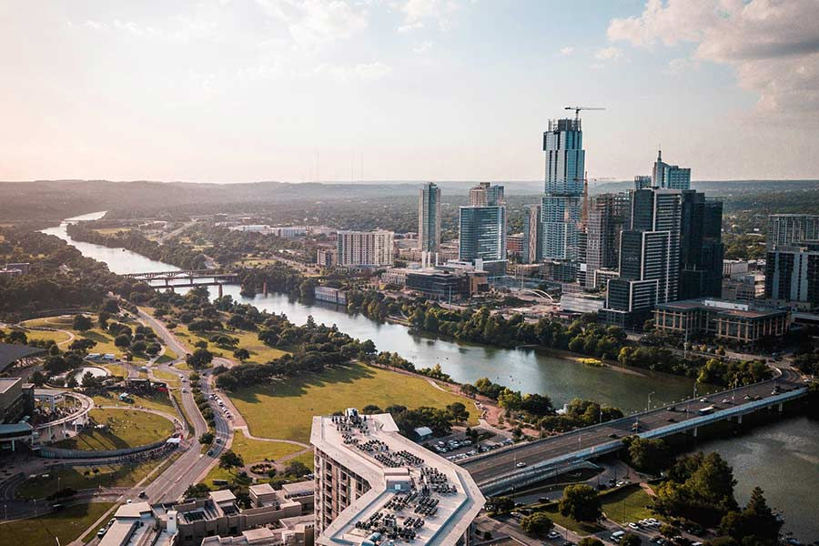 Areal view of Austin TX